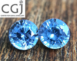 Certified - 1.43ct - Blue Sapphire Pair
