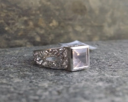 Rose quartz filigree Sterling silver ring #089