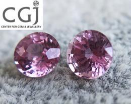 Certified - 0.93ct - Pinkish Purple Sapphire Pair