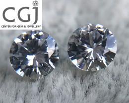 Certified - 0.62ct - White Sapphire Pair