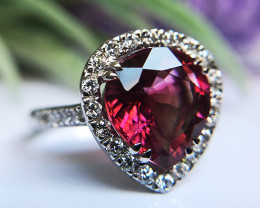 5.53tcw Tourmaline and Diamond Ring