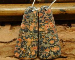 Leopard skin jasper earring beads (G0751)