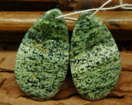 Green zebra jasper earring beads (G0755)