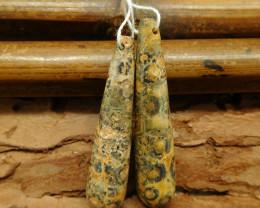 Leopard skin jasper earring bead (G0760)