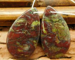 Dragon bloodstone earring pairs (G0762)