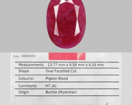 AIG CERTIFIED 5.55 Cts NATURAL PIGEON BLOOD RED RUBY LOOSE GEMSTONE
