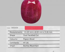 AIG CERTIFIED 3.28 Cts NATURAL PIGEON BLOOD RED RUBY LOOSE GEMSTONE