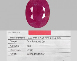 AIG CERTIFIED 2.65 Cts NATURAL RED RUBY LOOSE GEMSTONE