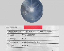 AIG CERTIFIED 15.29 Cts NATURAL BLUE STAR SAPPHIRE LOOSE GEMSTONE