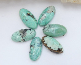 6 PCS Natural Oval Turquoise Gemstone Cabochons,12x6x3mm H7224