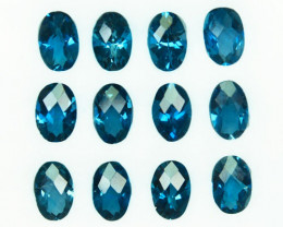 5.76 Cts Natural London Blue Topaz 6x4mm Oval Checkerboard Brazil