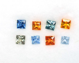 Natural Fancy Sapphire Square 8 Pcs Princess Cut 0.98 Cts Sri Lanka