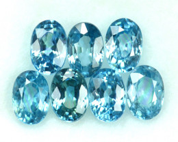 ~SPARKLING~ 6.27 Cts Natural Blue Zircon 6x4mm Oval 7Pcs Cambodia