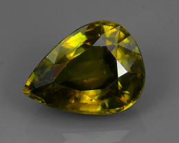 5.10 Cts EXTRME LUSTER RARE NATURAL MULTI GREENISH-YELLOW SPHENE GEM!!