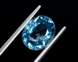 5.55 Ct Gorgeous Color Natural Vibrant Blue Zircon