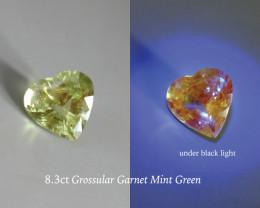 8.3ct Mint Green Grossular Garnet, Florescent, GIA