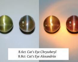 8.8ct Alexandrite Cat's Eye, 8.66ct Chysoberyl Cat's Eye, Pair