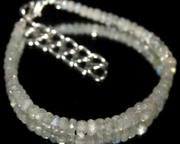 24 Crt Natural Rainbow Moonstone Faceted Beads Bracelet