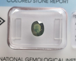 IGI Certificate Green Sapphire 1.41 ct