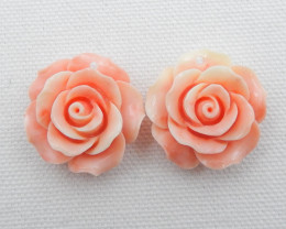 New Arrival Pink Conch Shell Carved flower Earrings beads D270