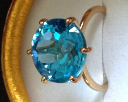 Rare Size Marambaia Swiss Blue Topaz in 9ct. Solid Gold