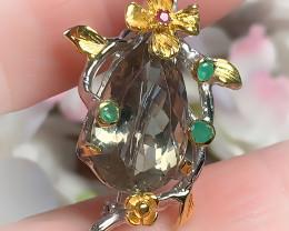 OMG Ruby Emerald Green Amethyst Brooch Pendant No Reserve ~