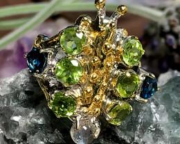 Stunning Huge Topaz Peridot Labradorite  .925 Sterling Silver Ring
