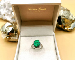 3,98ct Colombian Emerald 18k Solid Gold Ring Colombian Natural Emerald Colo