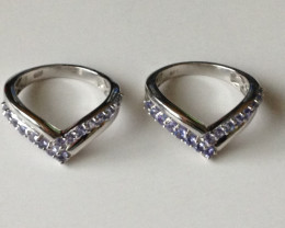 Set of Two Tanzanite Wishbone Rings - Each Ring is 0.75 TCW