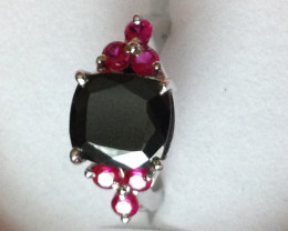 Black Diamond and Ruby Ring 5.10 TCW
