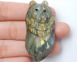 Hand Carved Wolf Pendant ,Labradorite Wolf ,Wolf Head Pendant E349