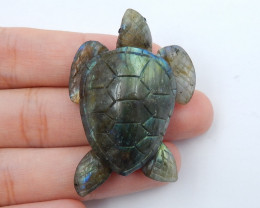 Hand Carved Turtle Pendant ,Labradorite Turtle ,Animal Head Pendant D273