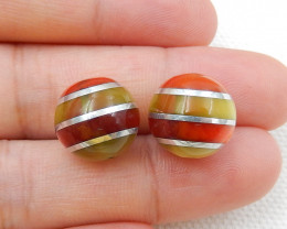 Cymophane and Silver Round Gemstone Earrings Bead H7320