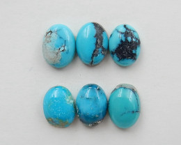 6 PCS Natural Oval Turquoise Gemstone Cabochons, 8x6x4mm H7377