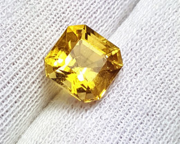 Glowing Asscher Cut 4.3Cts Golden yellow Luminous Citrine
