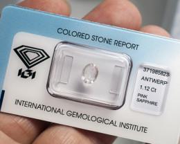 IGI Certificate Pink Sapphire 1.12 ct