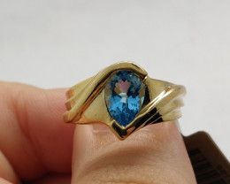 (23) Beautiful Nat. 2.67ct Blue Topaz Ring 10K Y