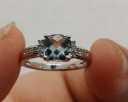 (24) Brilliant Nat 0.80 ct Aquamarine Ring 10K YG