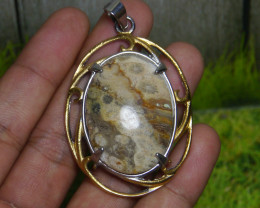 119.55 CT Indonesian Untreated  PICTURE JASPER Pendant