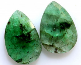 3.49 cts- EMERALD  FACETED  PAIR   ADG-106