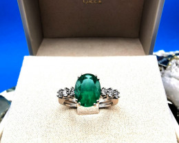 2,42ct Colombian Emerald Solid Gold Ring 5/23 Colombian Natural Emerald Col