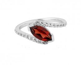 Garnet 925 Sterling silver ring #481