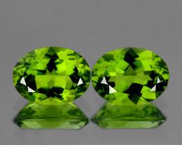 8x6 mm Oval 2pcs 3.05cts Green Peridot [VVS]