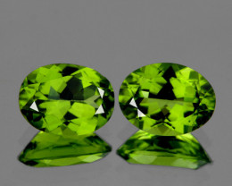 9x7 mm Oval 2 pcs 3.78cts Green Peridot [VVS]