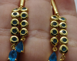 (18) Gorgeous neon blue natural apatite Earrings