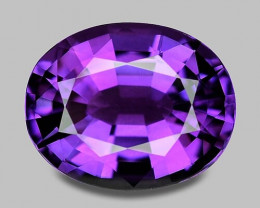 Precision oval cut natural purple amethyst.