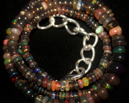 41 Crts Natural Ethiopian Welo Smoked Opal Beads Necklace 145