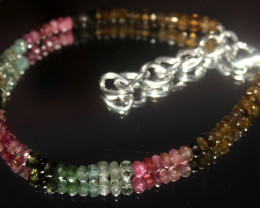 22 Crt Natural Tourmaline Faceted Beads Bracelet 557