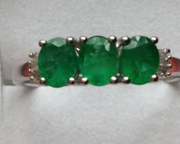 Emerald and Diamond Ring 1.00 TCW