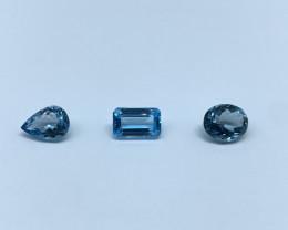 9.95 carats Lot of 3 pcs Blue Topaz Natural Gemstone IGI Certified